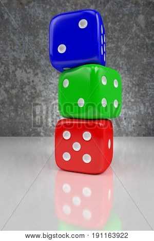 red green and blue dices one on another on the shining plane 3d rendering