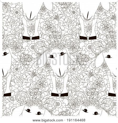 Seamless floral with sheep monochrome pattern stock vector illustration
