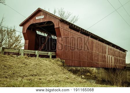 Built in 1879, the Swartz Bridge in rural Wyanodot County Ohio is a one lane covered bridge open to auto traffic.