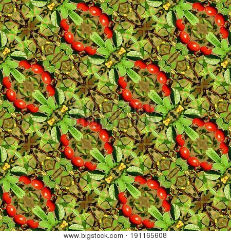 Natural seamless background with leaves and rose hips berries. Green, red and brown seamless pattern with intertwined twigs and wreaths of berries