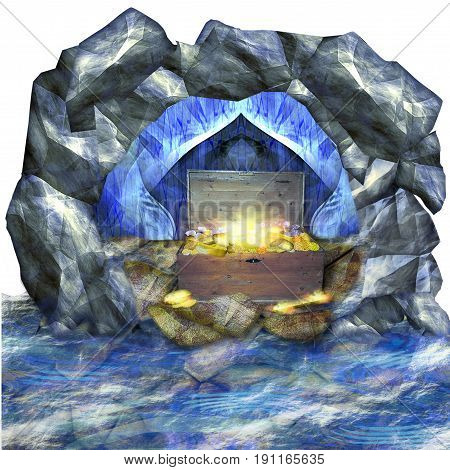 Cave surrounded by water. Treasure in the wooden chest. Glowing gold bricks, coins and diamonds in the chest. 3d illustration
