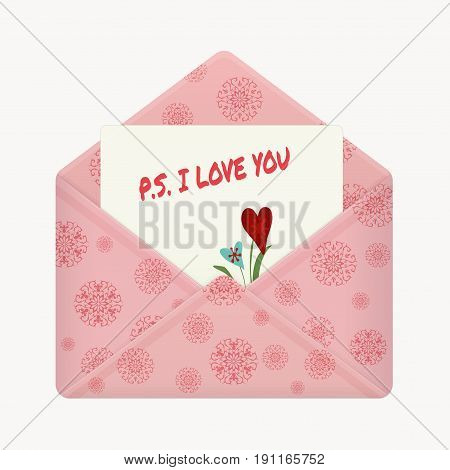 Letter in open colorful envelope. Postcard with a message: P.S. I love you. Valentine letter flat icon. Declaration of love. Vector illustration. Isolated on light background. Square location.