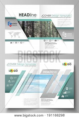 Business templates for bi fold brochure, magazine, flyer, booklet or annual report. Cover design template, easy editable vector, abstract flat layout in A4 size. Colorful background made of triangular or hexagonal texture for travel business, natural land