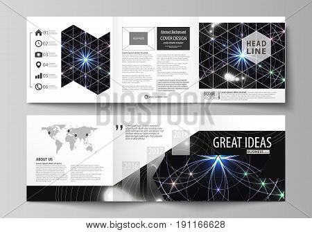 Set of business templates for tri fold square design brochures. Leaflet cover, abstract flat layout, easy editable vector. Sacred geometry, glowing geometrical ornament. Mystical background