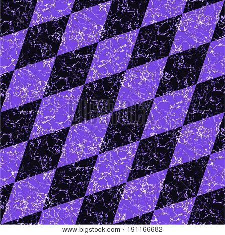 Abstract marbled diamond pattern with veins. Dark blue and purple marble background of beveled squares and typical veined texture