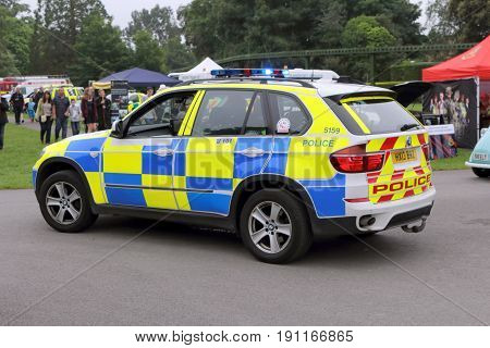 Beaulieu, Hampshire, Uk - May 29 2017: Bmw Patrol Car Belonging To The Uk Police Force With Blue Lig