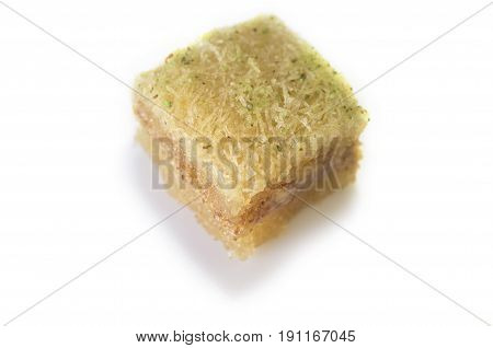 One east sweet baklava pastry isolated on white. Isolated over white background