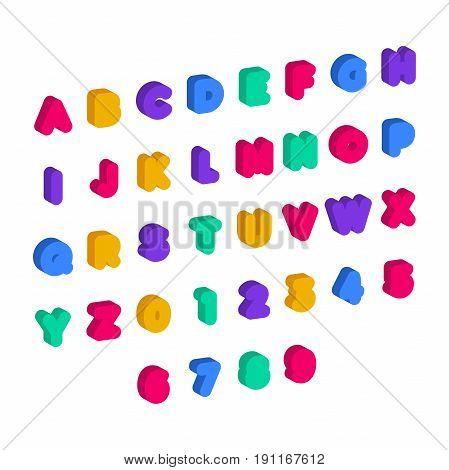 Children Abc. Large Letters In Kids Style. Babies Alphabet. 3D Font