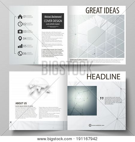 Business templates for square design bi fold brochure, magazine, flyer, booklet or annual report. Leaflet cover, abstract flat layout, easy editable vector. Genetic and chemical compounds. Atom, DNA and neurons. Medicine, chemistry, science or technology