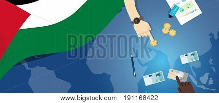 Palestine economy fiscal money trade concept illustration of financial banking budget with flag map and currency vector