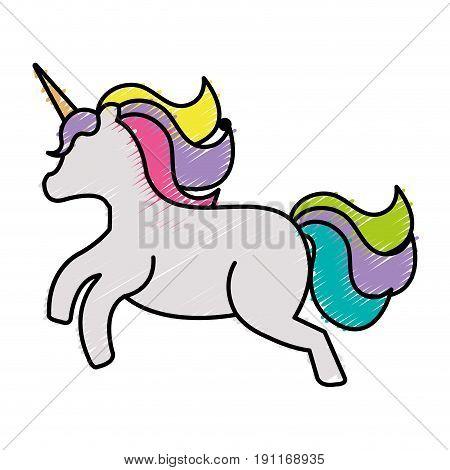Cute fantasy unicorn character vector illustration design