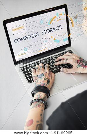 Computer network storage center hub graphic