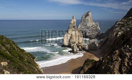 The Ursa Beach (Praia da Ursa) is a natural treasure at the end of a difficult cliff descent located in the Sintra Mountain near Lisbon Portugal
