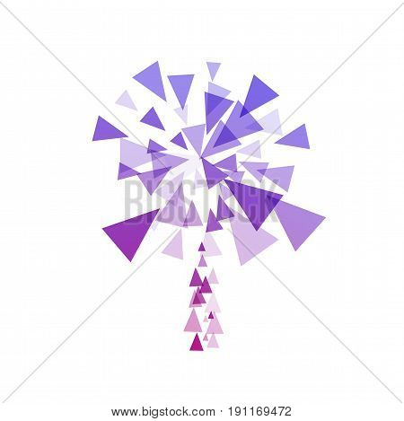 Simple stylized fireworks fireworks explosion by triangles on a white background. Sign of chemical reaction, explosion.