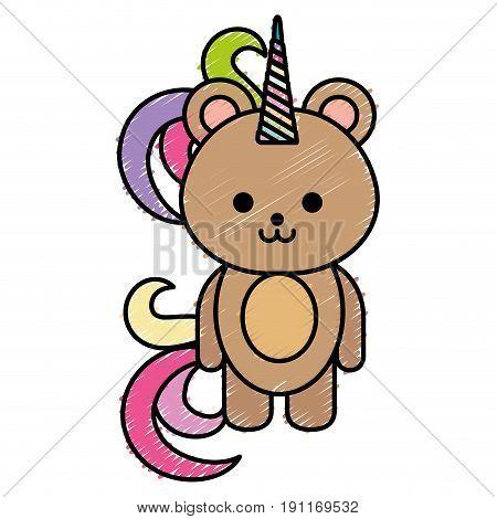 Cute fantasy bear with unicorn horn vector illustration design