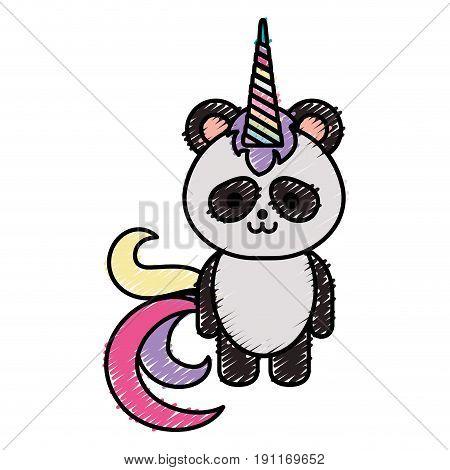 Cute fantasy panda bear with unicorn horn vector illustration design