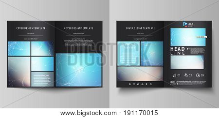 The black colored vector illustration of the editable layout of two A4 format modern covers design templates for brochure, flyer, booklet. Molecule structure. Science, technology concept. Polygonal design.