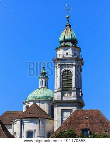 Towers of the St. Ursus cathedral in the city of Solothurn Switzerland. The St. Ursus cathedral is a Swiss heritage site of national significance.