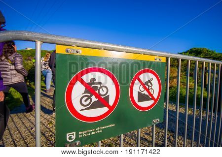 SOUTH ISLAND, NEW ZEALAND- MAY 25, 2017: An informative sign of do not allow biking in the mountain, in New Zealand.