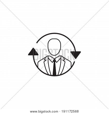 SEO consulting icon, operator symbol, vector graphics, a linear pattern on a white background, eps 10.