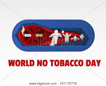 world no tobacco day art vector paper cut illustration