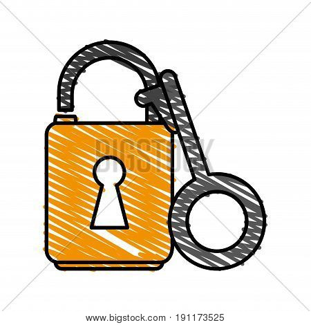 unlocked padlock accessory icon vector illustration design graphic doodle