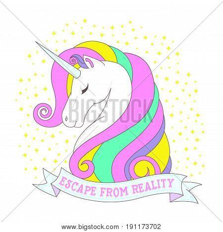 Escape From Reality Colorful Elegant Unicorn Image