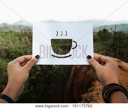 Beginning new day with cup of coffee perforated paper