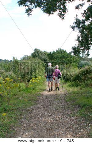 Elderly Couple Hiking On Path