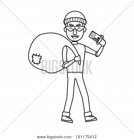 thief stealing money cartoon hacker stealing a bag concept of fraud vector illustration