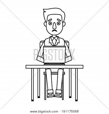 man working at a laptop and worries over the work vector illustration