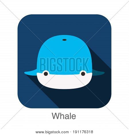 Whale Face Flat Icon Design. Animal Icons Series.