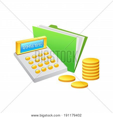 Cashier Machine and coin. Vector Illustration design