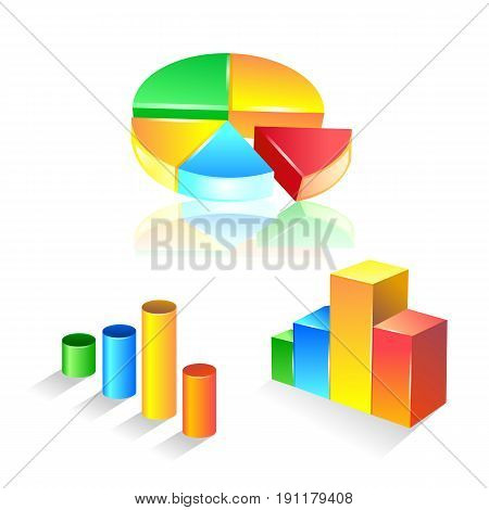 set of graphic chart icon set. Vector Illustration