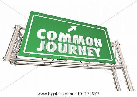 Common Journey Road Sign Shared Transportation Adventure 3d Illustration