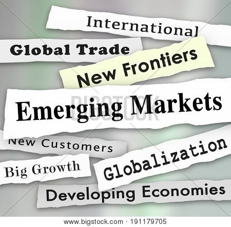 Emerging Markets Newspaper Headlines Global International Growth Illustration