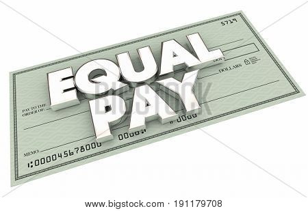 Equal Pay Work Equity Check Income Fairness 3d Illustration