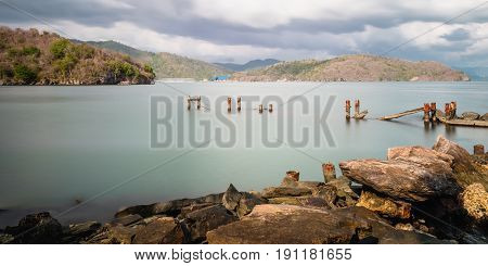 Chacachacare Island old pier jetty ruined seascape nature beauty Trinidad and Tobago