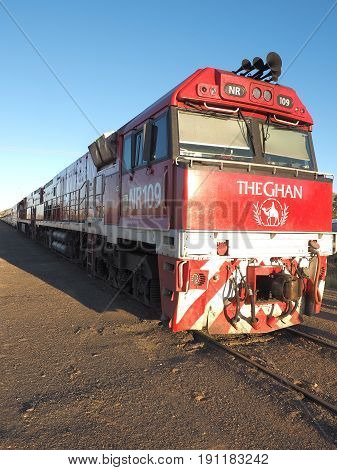 Alice Springs Australia - May 8 2017: Engine of the famous Ghan railway at stop in Alice Springs