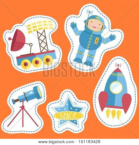 Space cartoon stickers. Astronaut, exploration rover with antenna and solar panel, telescope, star vector illustration isolated on orange background. Counters or tokens for table games, price tags