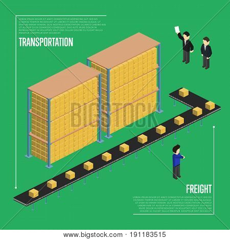 Freight transportation isometric vector illustration. Warehouse interior with delivery conveyor and working people. Freight automatic delivery, cargo transportation, logistics technology concept