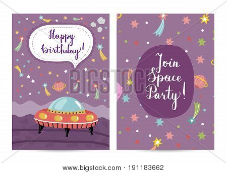 Happy birthday cartoon greeting card on space theme. Flying saucer surrounded by color stars, solar system planets and fiery comets on violet background vector. Invitation on childrens costumed party