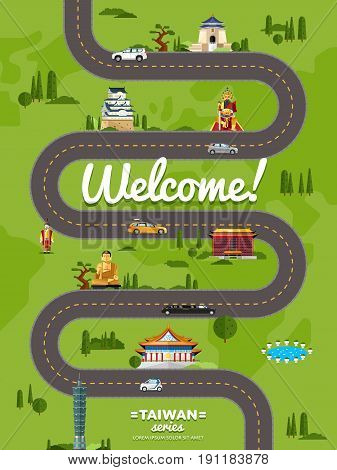 Welcome to Taiwan poster with famous attractions along winding road vector illustration. Travel design with asian statue, ancient temple and monument. Worldwide traveling, time to travel concept