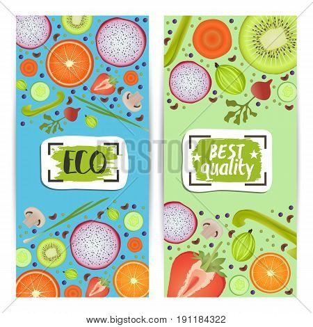 Organic food vertical flyers set vector illustration. Vegetarian, gmo free, fresh and natural, vegan, raw food, best quality, healthy lifestyle, bio and eco nutrition concept. Fruits and vegetables.