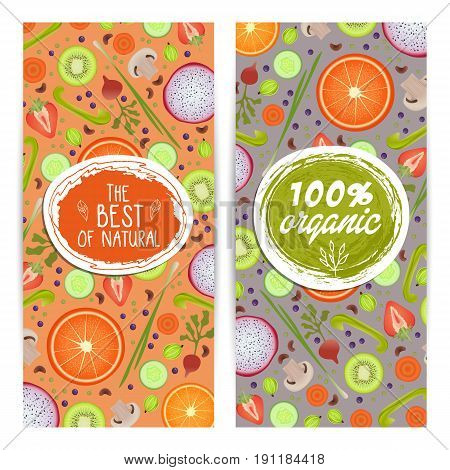 Organic products vertical flyers set vector illustration. Natural fruits and vegetables colorful background. Vegetarian organic raw food, healthy lifestyle, best quality, bio and eco nutrition concept