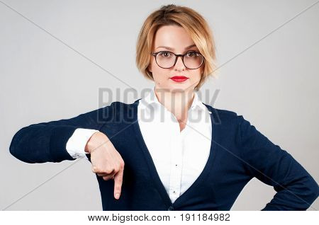 Woman Is Pointing At A Subscription Button