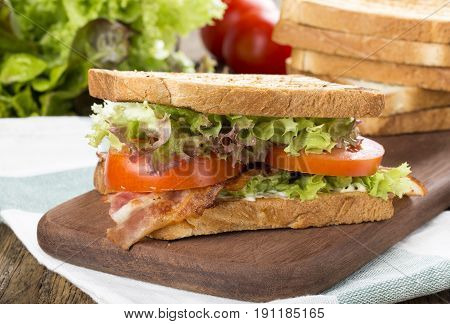 Close-up of Bacon lettuce tomato BLT sandwich