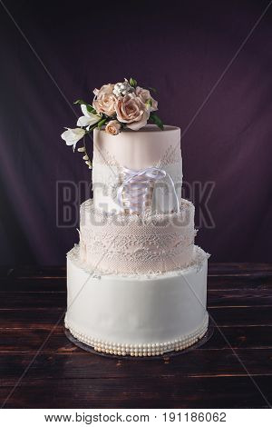 Wedding Cake Like Dress With Ribbon In Corset With Roses