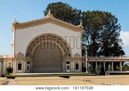SAN DIEGO, CALIFORNIA - APRIL 28, 2017:  Stage of the Spreckel's Organ Pavilion in Balboa Park, where free organ concerts are held on Sundays and on summer evenings.