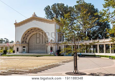 SAN DIEGO, CALIFORNIA - APRIL 28, 2017:  Balboa Park's historic Spreckels Organ Pavilion, the location of free public organ concerts on Sundays and on summer evenings.